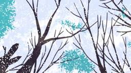 눈 내리는 숲 속 풍경