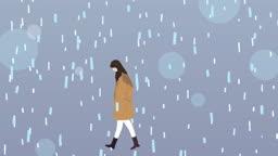 비를 맞으며 가는 여인에게 우산을 씌워주는 남자