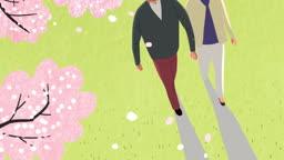 벚꽃이 떨어지고 손잡고 산책하는 노부부