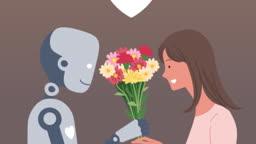 여인에게 꽃을 건내주는 로봇