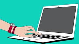 노트북으로 온라인 쇼핑하는 여성 손 모습