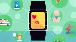 심장박동 BPM을 나타내는 의료 서비스 스마트 시계