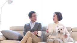 거실 소파에 앉아 커피를 마시는 60대 부부와 반려견