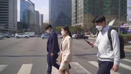 코로나바이러스 서울 도심 마스크 착용하고 출근하는 직장인 모습