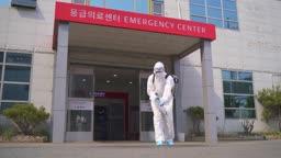 코로나바이러스 병원 방역하는 방호복 입은 의료진 모습