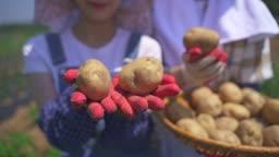 귀농귀촌 농사 바구니에 든 감자 보여주는 부부 모습
