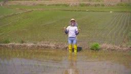 귀농귀촌 농사 밭에서 모종 들고 카메라 응시하는 젊은여자 모습