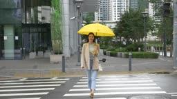 노란 우산 쓰고 횡단보도 건너는 여자 모습