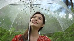 투명 우산 쓰고 주위를 둘러보는 여자 모습