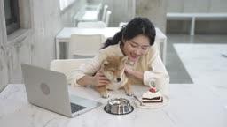 애견카페 강아지와 함께 여유를 즐기는 견주 젊은여자 모습
