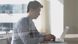 비즈니스 노트북 열심히 일하는 비즈니스맨 모습