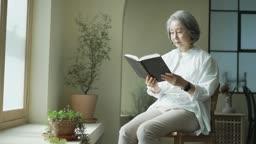 실버서퍼세대 창가 의자에 앉아 독서하는 노년층여자 모습