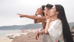 한국 강원도 양양군 서피비치 일대 함성을 지르는 젊은청년들 모습